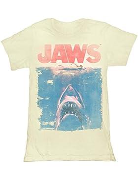 Jaws 1975película gran tiburón blanco y nadador–Póster Faded Junior camiseta