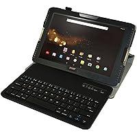 """Acer Iconia Tab 10 A3-A40 Bluetooth teclado Funda,Mama Mouth DETACHABLE Bluetooth teclado teclado (teclado QWERTY formato inglés) PU Cuero Con Soporte Funda Caso Case para 10.1"""" Acer Iconia Tab 10 A3-A40FHD Android Tablet,Magenta"""