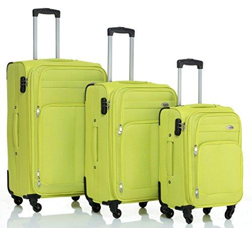BEIBYE 4 Rollen Reisekoffer 8005 Stoffkoffer Gepäck Koffer Trolley SET-XL-L-M in 7 Farben (Grün, Kofferset(XL+L+M))