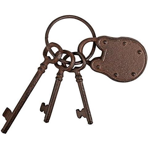 Esschert design portachiavi con serratura e tre