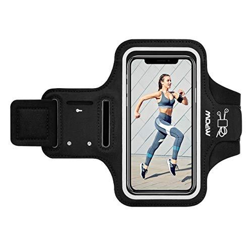 Mpow Fascia Sportiva da Braccio Sweatproof Bracciale per Corsa & Esercizi con Supporto Armband per iPhone XS Max/X/8 Plus/8/7/, Samsung Galaxy S8E, S8, etc - Nero