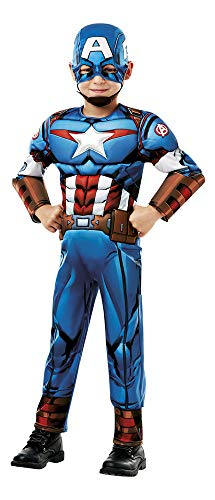 Rubie 's 640889 Offizielles Marvel Avengers Captain America Deluxe Kind costume-age 9-10, Höhe 140 cm, Jungen, one size
