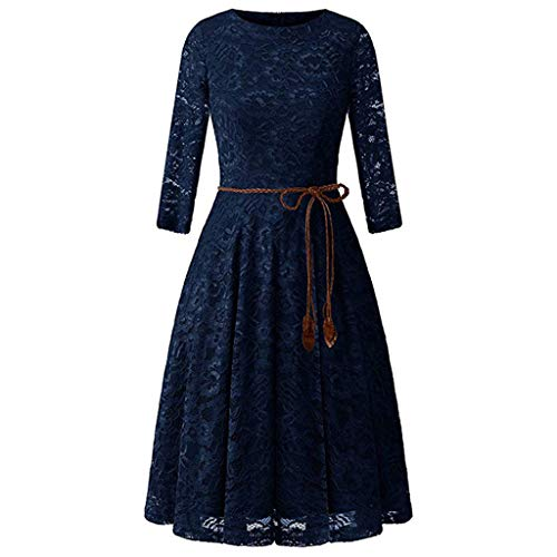 Tohole Damen Spitze einfarbig Vintage Kleid Tankrock Rockabilly Kleider Cocktailkleider Ärmellos Kleidung Abendkleider Partykleid Knielang Kleid Gürtel (Marine,XL)