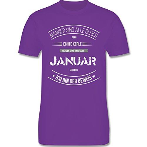 Shirtracer Geburtstag - Echte Kerle Werden IM Januar Geboren - Herren T-Shirt Rundhals Lila