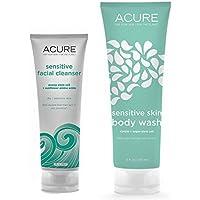 Acure Organics Pumpkin + Argan Oil Sensitive Facial Cleanser & Body Wash Bundle with All Natural Organic Probiotics, Coq10, Omega Fatty Acids and Argan Stem Cells, 4 Oz. And 8 Oz. by Acure Organics