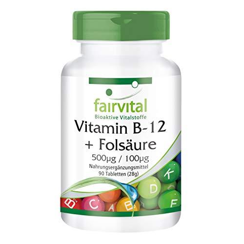 Vitamin B-12 Tabletten mit Folsäure - HOCHDOSIERT - VEGAN - 90 Tabletten - 90 Tabletten Natürlich Vitamine