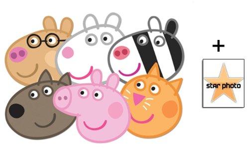 Peppa Pig Karte Partei Gesichtsmasken (Maske) Packung von 6 (Peppa, Candy, Suzie, Pedro, Zoe und Danny) - Enthält 6X4 (15X10Cm) starfoto