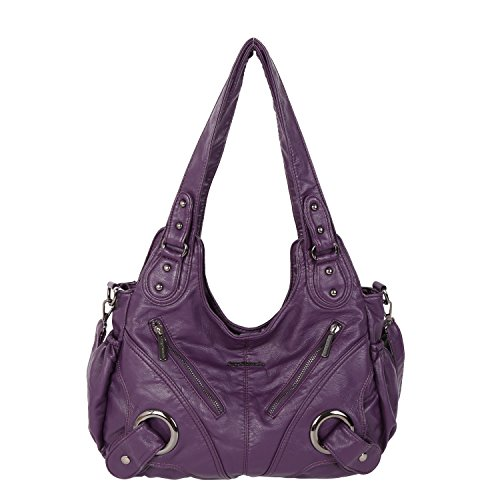 (Angel Barcelo Frauen-Handtasche Geräumig Mehrere Taschen Damen ' Schultertasche Mode PU Tote Tasche Satchel Tasche Designer-Handtaschen (xs162221-Lila))