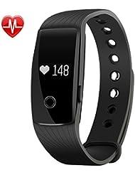 Mpow® Herzfrequenzsensor Smart Fitness Tracker Armbänder Aktivität Schrittzähler Armband Sleep Tracker Touch Bildschirm Wasserdicht Smartwatch für Android und IOS Smartphones wie iPhone 7/7Plus/6S/6/6Plus/5/5S/SE, Huawei Mate 7/P9, LG, Sony, schwarz