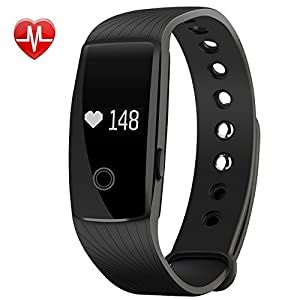 Smart Bracelet, Mpow Heart Rate Monitor Smart Fitness Tracker Activity Tracker Pedometer Wristband Sleep Monitor Touch Screen Waterproof Smartwatch for Android and iOS Smartphones Such as iPhone 7 7 Plus 6s 6 5 5S, Samsung S8 S6, Huawei, LG, Sony, Black