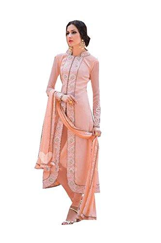 Fashions Biz Indian Women Designer Party wear peach Anarkali Salwar Kameez K-5817-53511 (Kameez Anarkali Salwar)