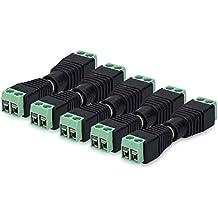 kwmobile Set de 5 conectores eléctricos DC - Adaptador RCA a Jack macho y hembra - Conector con dos pines para cable y salida cinch para CCTV y audio