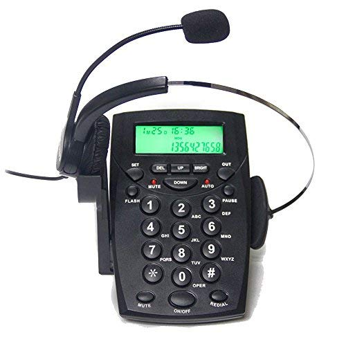 telpal mit Call Center Headset Telefon mit Wähltasten & MONORAL Noise Cancelling Kopfhörer ha0021, verkabelt Analog Home & officetelephone Set Festnetz Dial-pad Headset