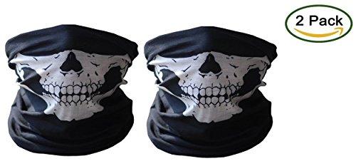 tobe-u Nahtlose Multi-Funktion Half Face Skull Tube Maske für Halloween 2 Einheitsgröße Weiß - ()