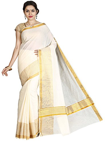 JISB Cotton Kasavu Saree With Blouse Piece (Saksa01026_Cream Ivory_Free Size)