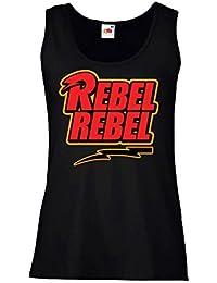"""Camiseta de tirantes mujer """"David Bowie - Rebel Rebel"""" - 100% algodòn LaMAGLIERIA"""
