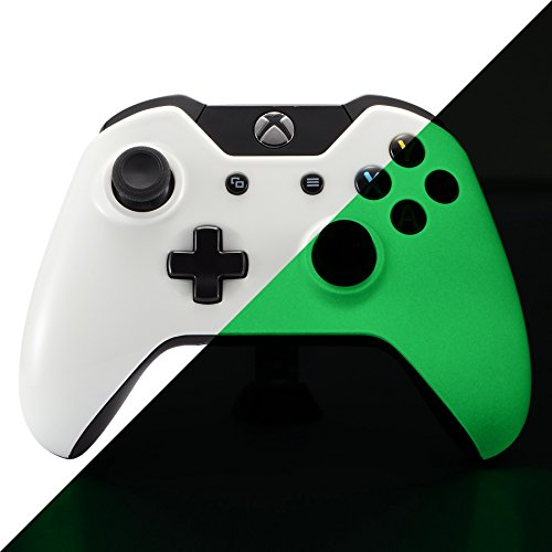 eXtremeRate® Resplandor en la oscuridad Carcasa frontal Carcasa superior Carcasa superior Repuestos de recambio Kits de modificación para Microsoft Xbox One Controlador jack de 3,5 mm