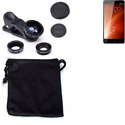 3in1 Clip-On Kamera Adapter für ZTE Nubia Z5S Macro Weitwinkel FishEye Fischauge Objektiv Linse Smartphone Objektivset - K-S-Trade