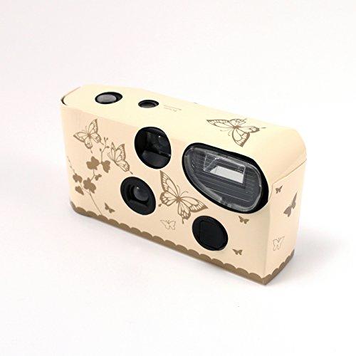 Einwegkameras / Einwegfotos in Creme mit goldenen Schmetterlingen - Inhalt pro Packung: 10 Stück Hochzeitskameras