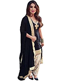 HMP Fashion Women's Semi Stitched Heavy Banglori Silk Cotton White Patiala Suit With Dupatta - Salwar Suit Material...