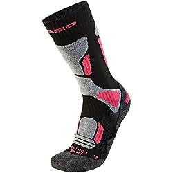 XAED - Calcetines de esquí profesional ergonómicos para mujer (35/37, negro/rosa)