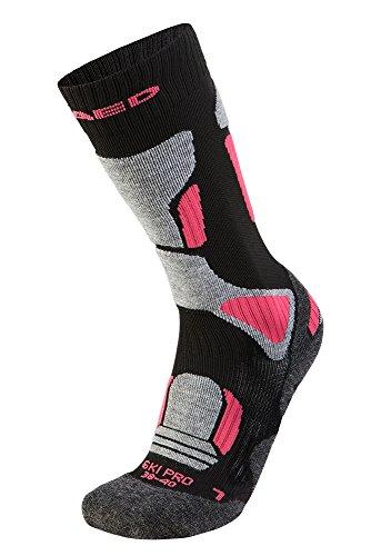 XAED Damen Ergonomische Pro Skisocken (35/37, Schwarz/Pink)