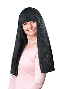"""NEW 24"""" LONG BLACK WIG WITH FRINGE FANCY DRESS (peluca)"""