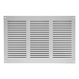 Air Vent Grille Cover 300 x 200mm (11 x 8inch) White Ventilation Cover, Metal, with Insect Protection , mr3020