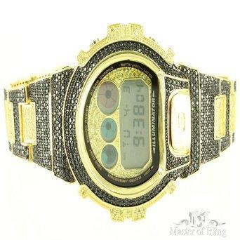 Schwarz Gelb Iced Out Schwarz lab Diamant Custom Gold Finish-1AER Armbanduhr für Herren (G-shock-watch-gelb Und Schwarz)