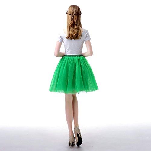 Feoya Tutu en Tulle Femme Ballet Jupe Courte Jupon Tutu Skirt Danse Spectacle Taille unique Élastique 60-95 CM Vert