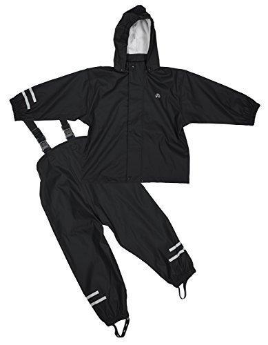 Elka Regenanzug Regenhose + Regenjacke für Kinder, gestreift und einfärbig Farben viele Größen 220g/Polyester (86, Schwarz)