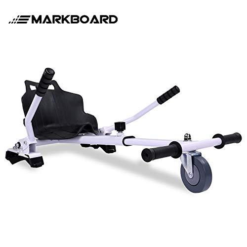 MARKBOARD Hoverkart Sitzscooter Gokart, Hovergokart, Hoverdrift hovercart, Sitz für Elektrokart Self Balancing Scooter, Kompatibel mit 6,5, 8,5 und 10 Zoll Hoverboard (weiß)