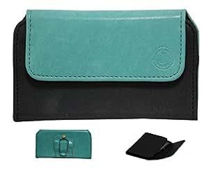 Jo Jo A4 Nillofer Belt Case Mobile Leather Carry Pouch Holder Cover Clip For Spice Stellar Mi 600 Light Blue Black