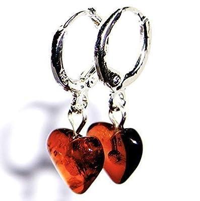Boucles d'oreilles coeurs ambre en argent sterling 925 plaqué