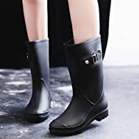 FDDSSYX Rainboots For Women,Womens Wellies,Waterproof Rain Shoes Ladies Black Fashion Retro Short Tube Wellington Rain Boots Music Festivals Water Boots Adult Outdoor Non-Slip Rainboots