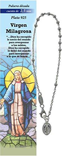 Pulsera Rosario de plata 925 con 11 cuentas de 2,5 mm - Virgen Milagrosa - en español