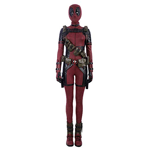 QWEASZER Marvel X-Men Lady Deadpool Kostüm Superheld Rot und Schwarz Leder Overalls Cosplay Kostüm Erwachsene Halloween Film Kostüm Requisiten Deluxe Edition,Deadpool Costume Women-XXL (Deluxe Deadpool Kostüm)
