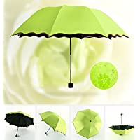 Flikool Anti-UV Secret Blossom Water Magic Umbrella Sun/Rain Folding Travel Umbrella Princess Vaulted Parasol Wind Resistant Magic Flowers Sun Protection Umbrella - Green