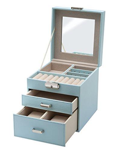 Clauss-Caja-Joyero-Piel-Sinttica-Fieltro-Azul-Celeste-145x145x15-cm