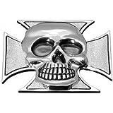 Perro maltés Cruz Emblema con calavera de metal 26mm para chaqueta o–Bolsa para sillín