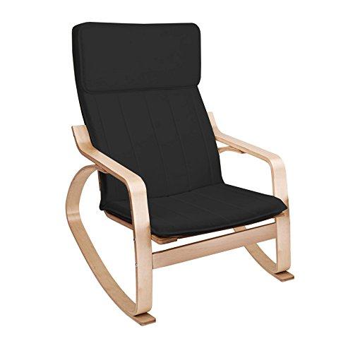 Lyndan - Surtsey Bouleau Fauteuil à bascule avec confortable Coussin relaxant noir coton tissu d'allaitement Véranda Fauteuil lounge