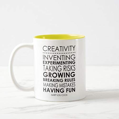 Funny Coffee Mug Mary Lou Cook Creativity Quote Novelty Cup Gift, White&Black, 11 Oz