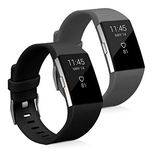 2in1 Set: Armband für Fitbit Charge 2 - kwmobile 2x Silikon Sport Ersatzarmband mit Verschluss ohne Fitness Tracker - Innenmaße: ca. 17 - 23 cm