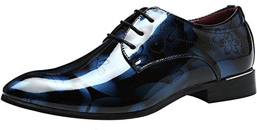 ALSYIQI Men's Classical Fashion Casual Oxford Business Shoes Dress Shoes A11 Blue