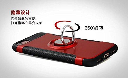 YHUISEN IPhone 7 Fall, Rüstung Dual Layer 2 in 1 Heavy Duty Shockproof Schutzhülle mit 360 Grad drehenden Finger Ring Halter und Magnet Car Holder Case für iPhone 7 ( Color : Black ) Navy