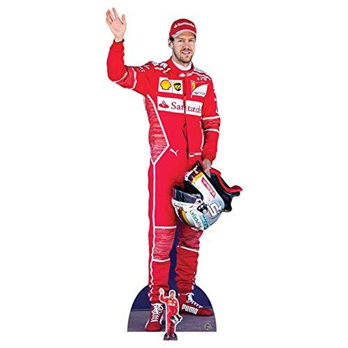 Star Cutouts Sebastian Vettel Rot, Pappe, Mehrfarbig, 183 x 77 x 183 cm