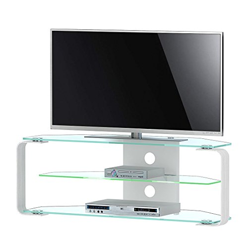 Jahnke CU-MR 110 LED KGL/AL GESCHL TV Rack, ESG Sicherheitsglas, Metall, klarglas / alu geschliffen, 114 x 40 x 40 cm