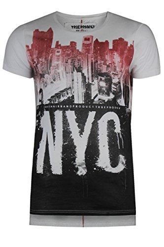 trueprodigy Casual Herren Marken T-Shirt mit Aufdruck, Oberteil cool und stylisch mit Rundhals (kurzarm & Slim Fit), Shirt für Männer bedruckt Farbe: Rot 1072123-1550 Red
