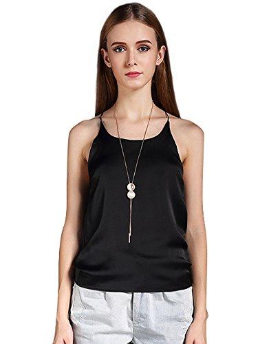 Schwarze Seide Cami (PhilaeEC Damen Geschnürt Seide Cami Weste Top T Shirt Slip (S-4XL) (Schwarz, M))