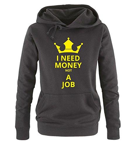 Comedy Shirts - I Need Money not A Job - Damen Hoodie - Schwarz/Neongelb Gr. XL